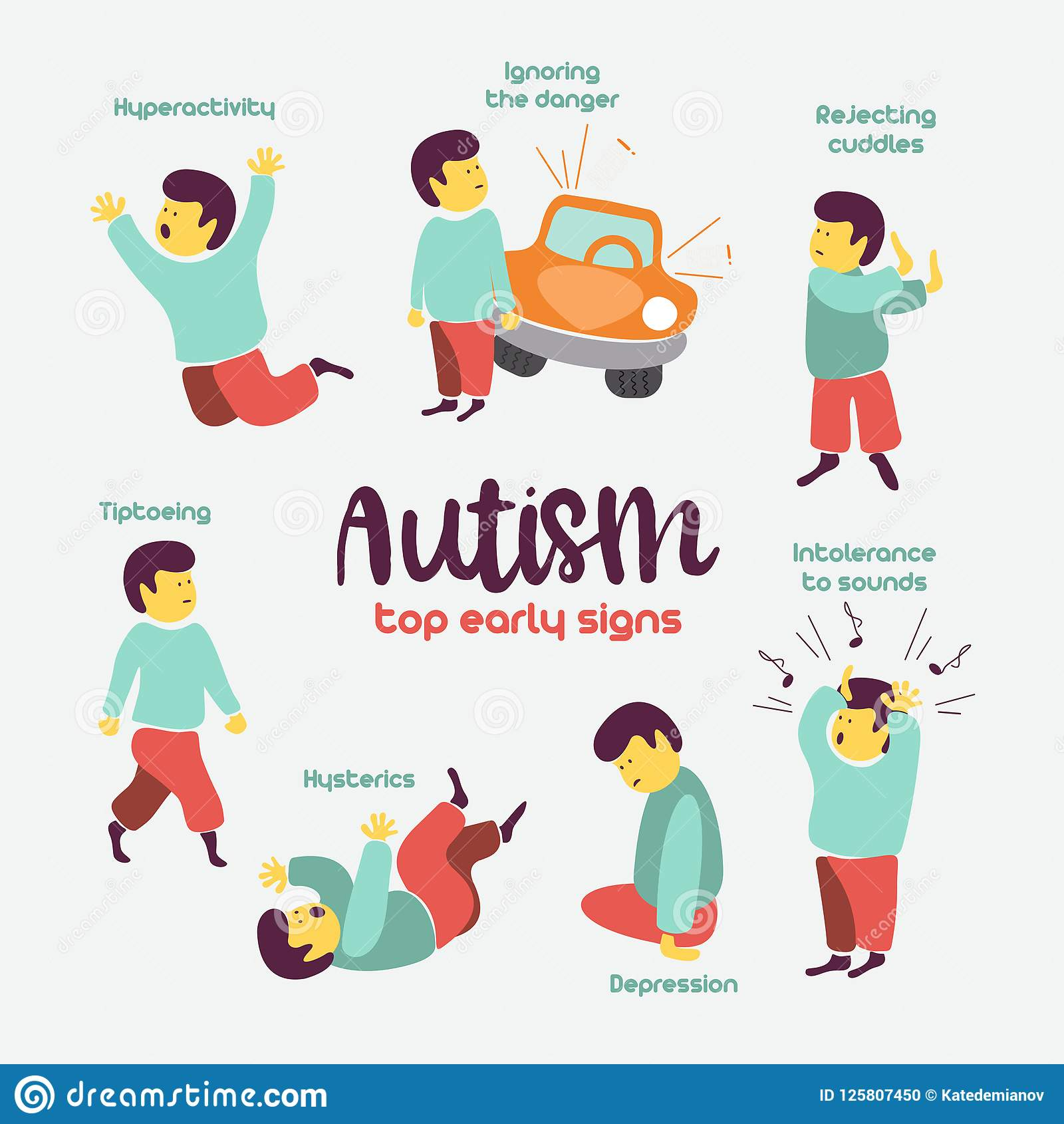 Autism. Early Signs Of Autism Syndrome In Children. Vector Illus.