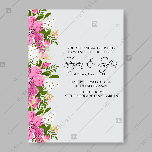 Floral Wedding invitation vector card template pink anemone flower clip art  baby shower invitation.
