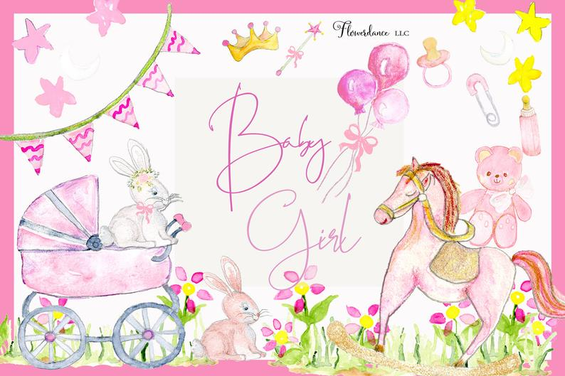 Watercolor Baby Clipart, Baby Shower, Girls, Pink, Green and Yellow,  Rocking Horse, Bunny, Carriage, Bunting, Balloon. PNG.