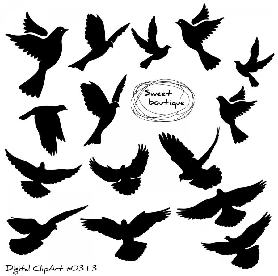Birds Silhouette, Digital Bird Clip Art, Clipart Bird, Bird.