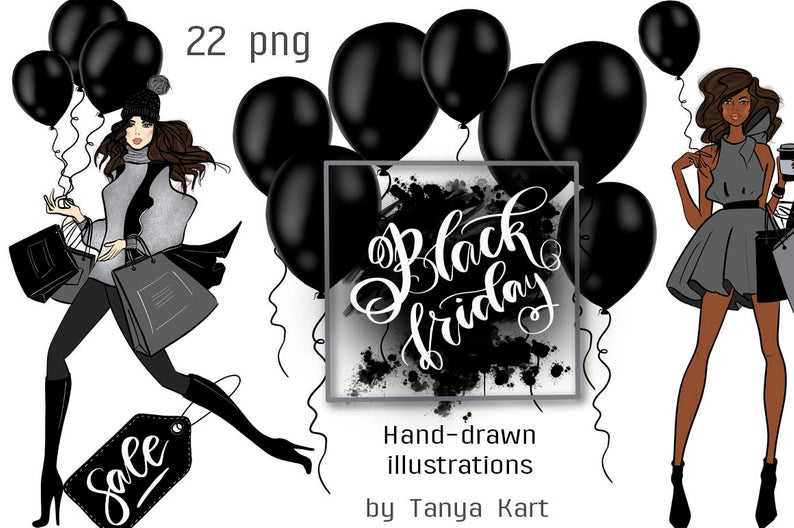 Girly Clipart, Black Friday Clipart, Dark Skin Toned Girls, Hand Drawn  Clipart, Fashion Clipart, Fashion Illustration, Shopping Girl.