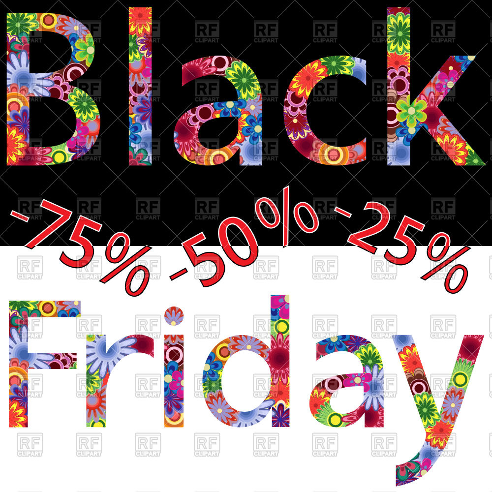 Black Friday inscription with colorful flower design Stock Vector Image.