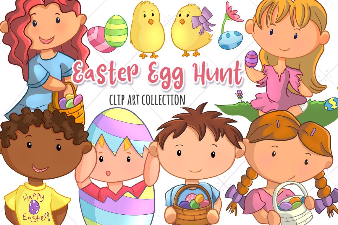 Cute Easter Egg Hunt Clip Art.