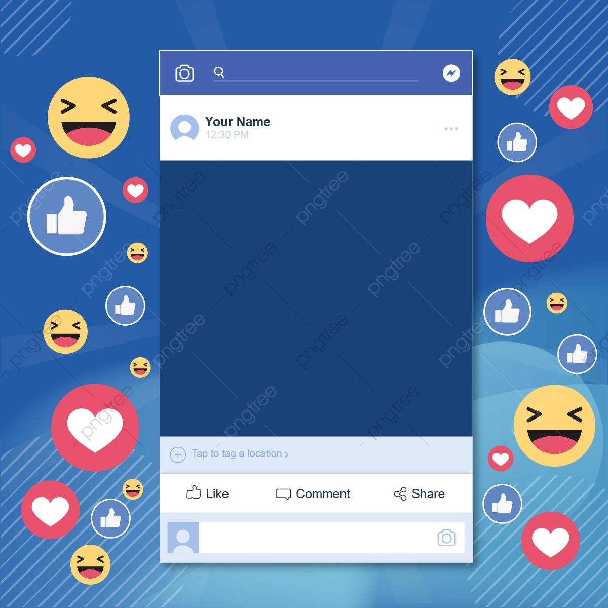 Social Media Background Icons Facebook Emoji Emojis Post Template.