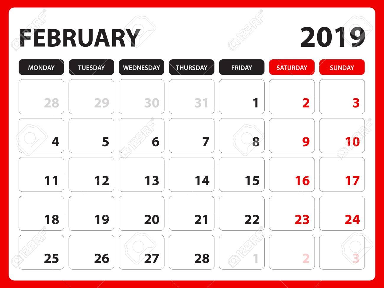 Desk calendar for FEBRUARY 2019 template, Printable calendar,...