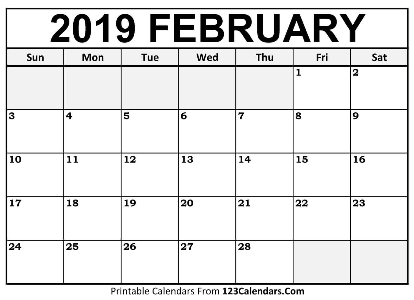 Calendar February 2019.