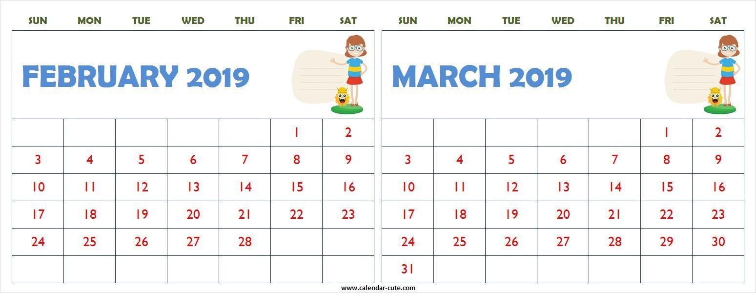 February March 2019 Calendar Clipart Printable.