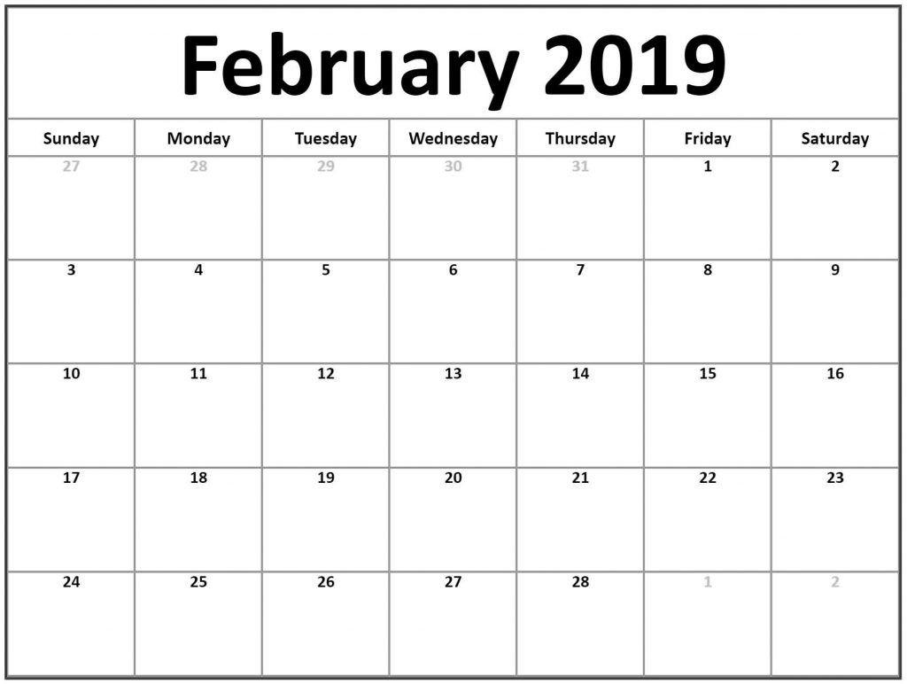 February 2019 Printable Blank Calendar.
