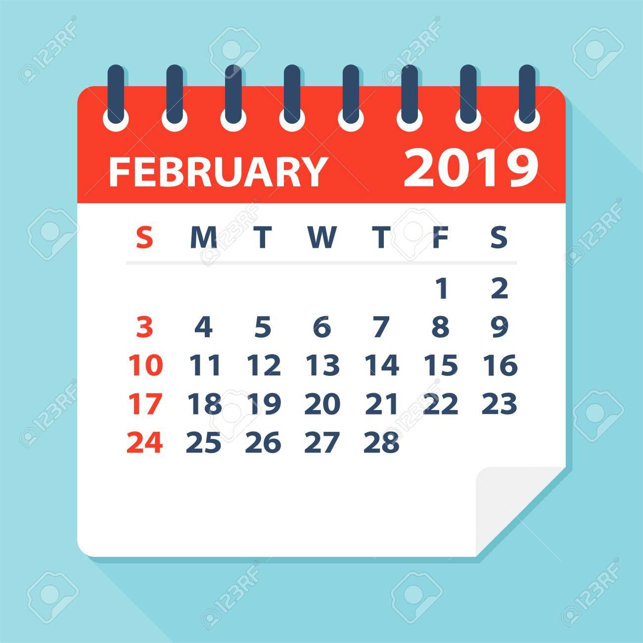 February 2019 Calendar Leaf.