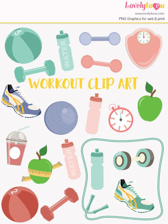 Fitness clip art set, gym workout, exercise clipart symbols (LC03.