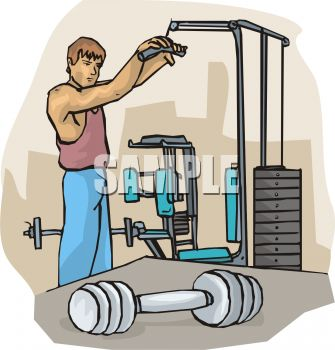 Royalty Free Clipart Image: Man Working Out at the Gym.