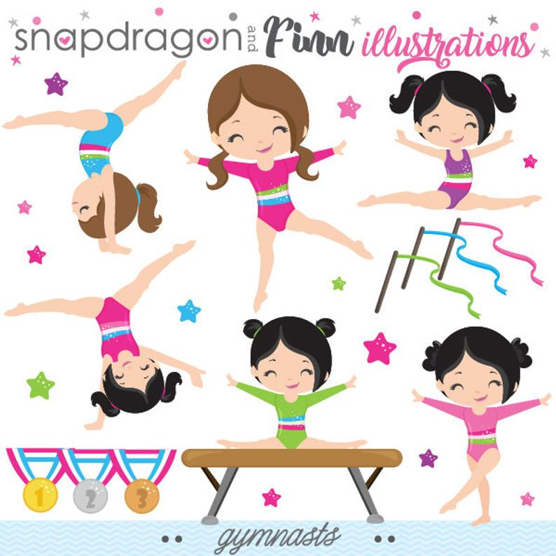 BUY5GET5 Gymnastics Clipart, Gymnast Clip Art, Tumbling Clipart, Trampoline  Clip Art, Commercial License Included.