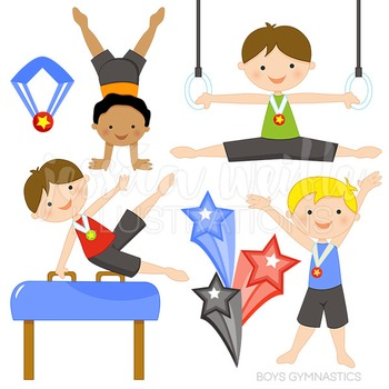 Boys Gymnastics Cute Digital Clipart, Gymnastics Clip Art.
