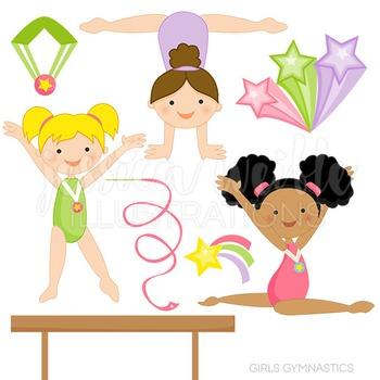 Girls Gymnastics Cute Digital Clipart, Gymnastics Clip Art.