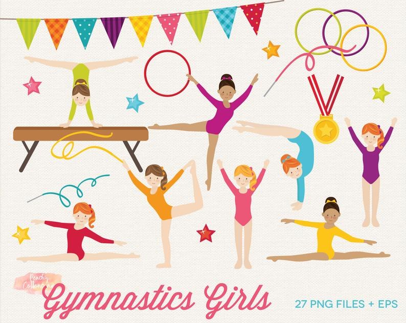 BUY 2 GET 1 FREE Gymnastics Girls Clipart.