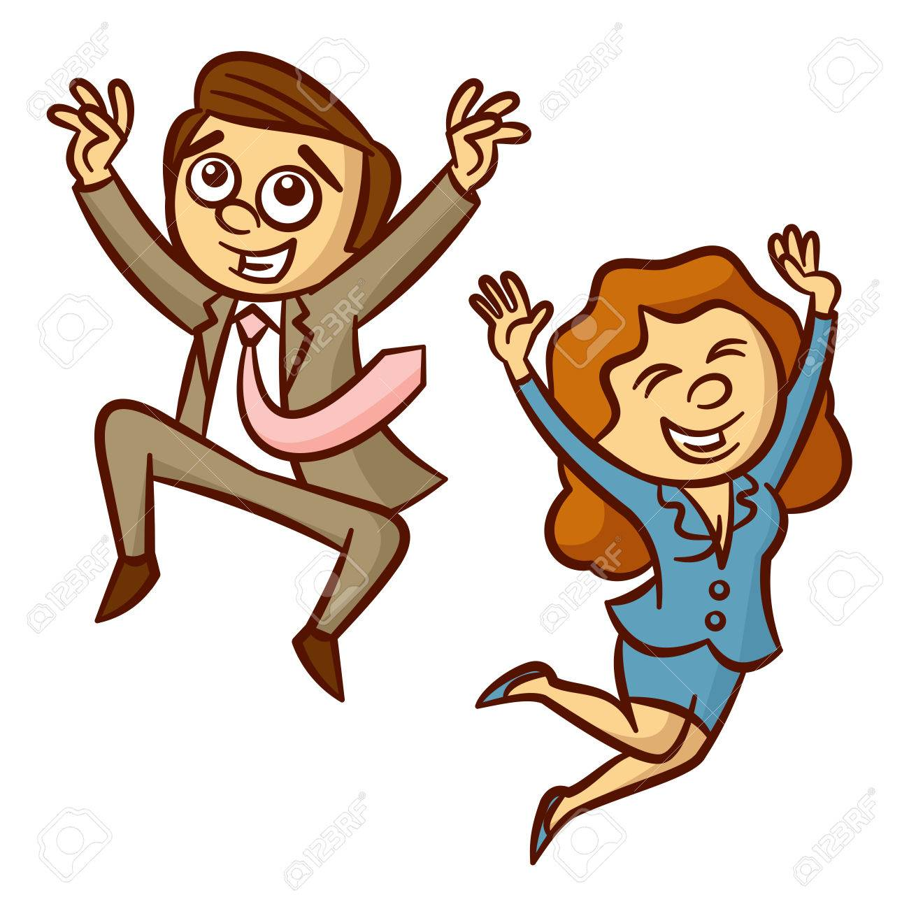 Happy Jumping Business People » Clipart Station.