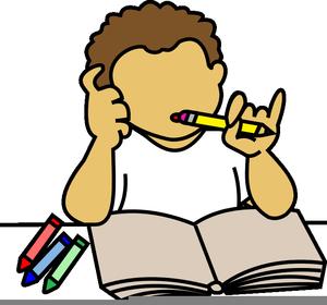 Boy Doing Homework Clipart.