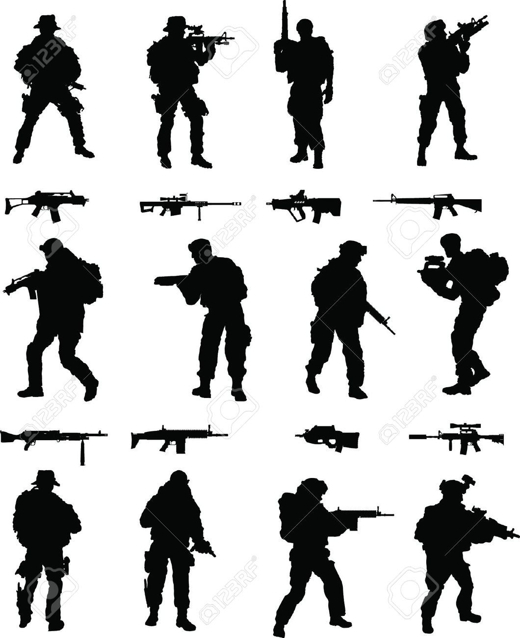 Silhouettes Military Cliparts, Stock Vector And Royalty Free.
