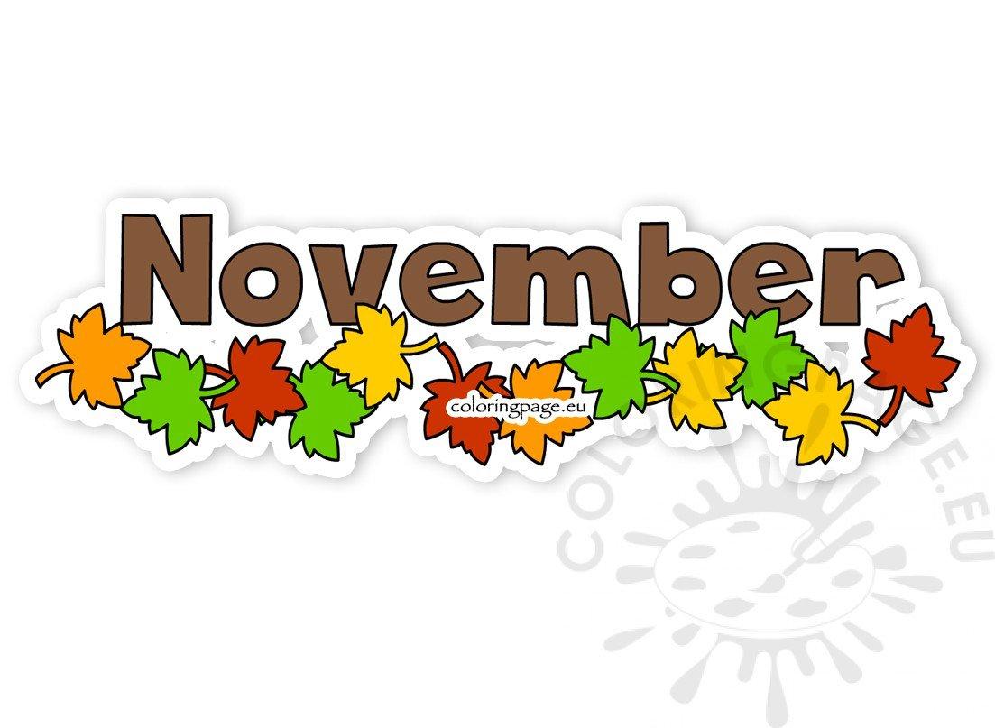 Autumn leaves month november clipart.
