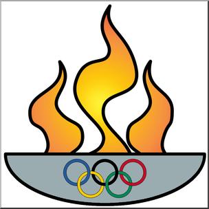 Clip Art: Olympic Flame Color I abcteach.com.