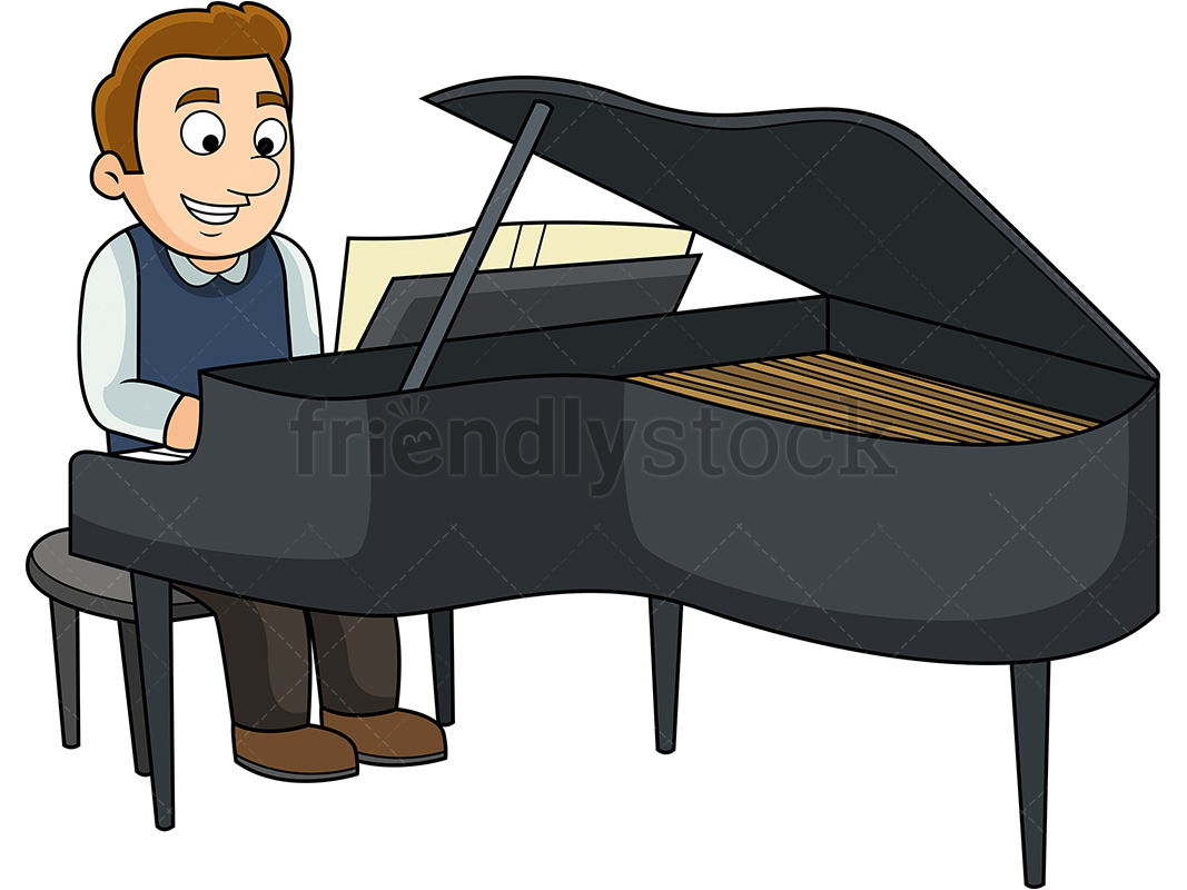 Young Man Playing The Piano.