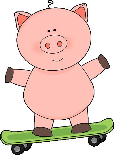 Pig on a Skateboard Clip Art.