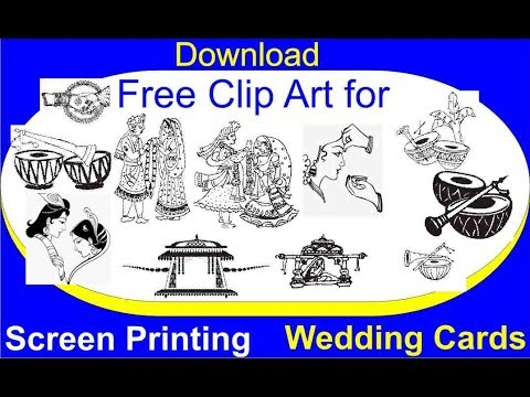 Download Free Clip Arts for screen printing wedding card.