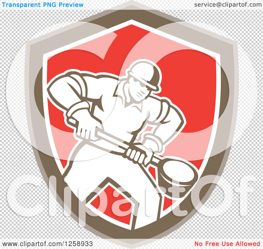 Clipart of a Retro Male Foundry Worker Holding a Ladle in a Brown.