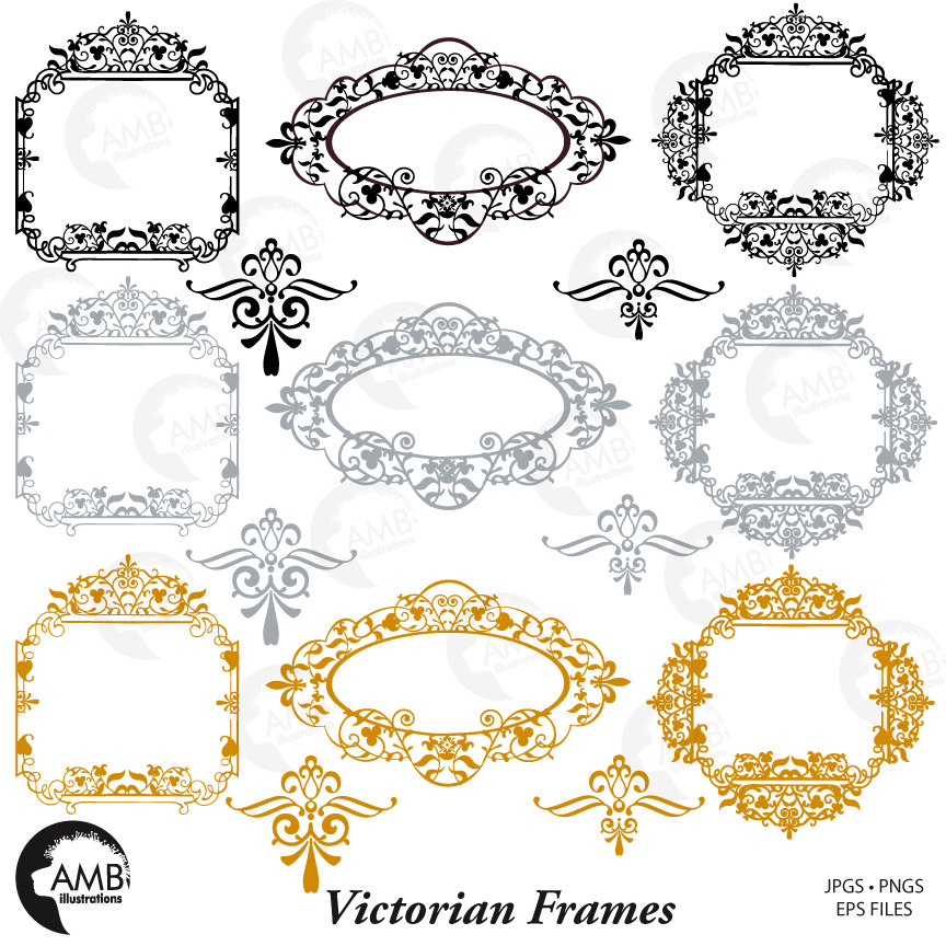 Fancy Frames Clipart, Victorian Clipart Frames, Wedding Frame AMB.