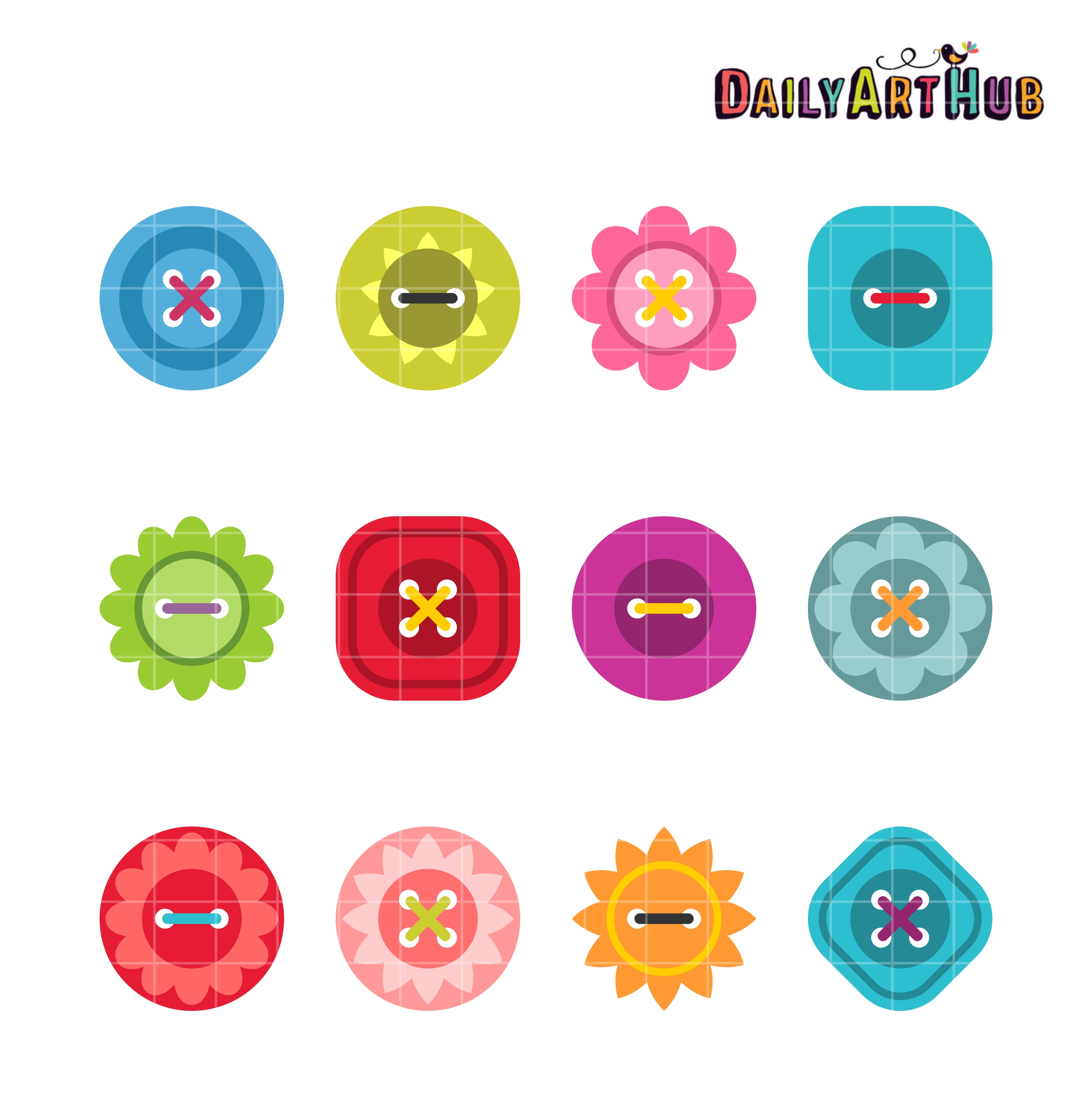 Pretty Buttons Clip Art Set.