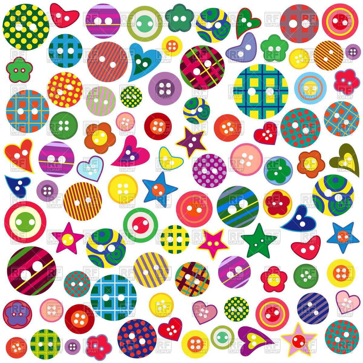 Colorful ornamental buttons of different shapes Stock Vector Image.