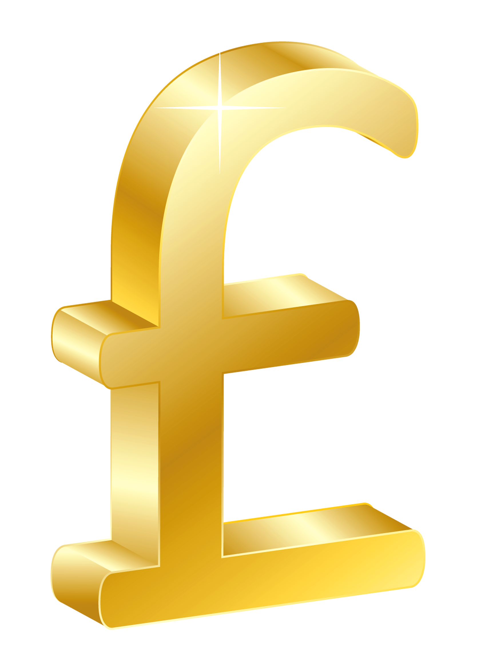 3D Gold UK Pound PNG Clipart.