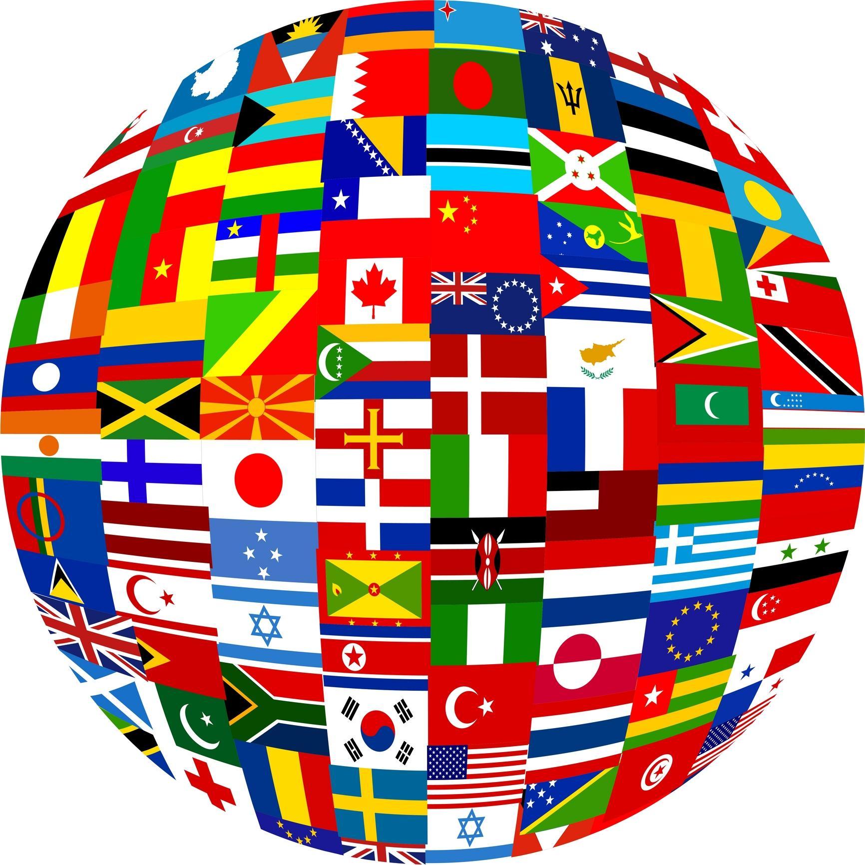 World Flag Globe Clipart.