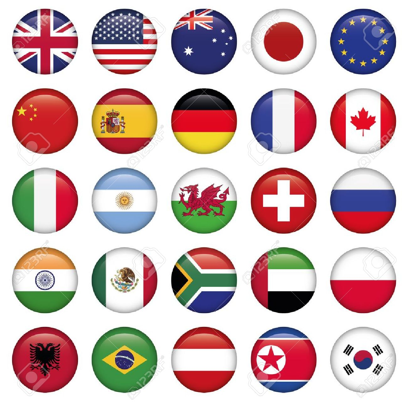 Set of Round Flags world top states.