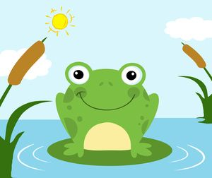Free Frog Clip Art Image: Clipart Illustration of a Frog in a Pond.