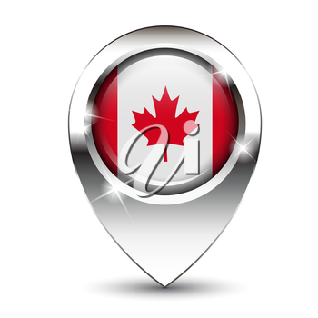 Royalty Free Clipart Image of a Canadian Flag on a Glossy Pin.
