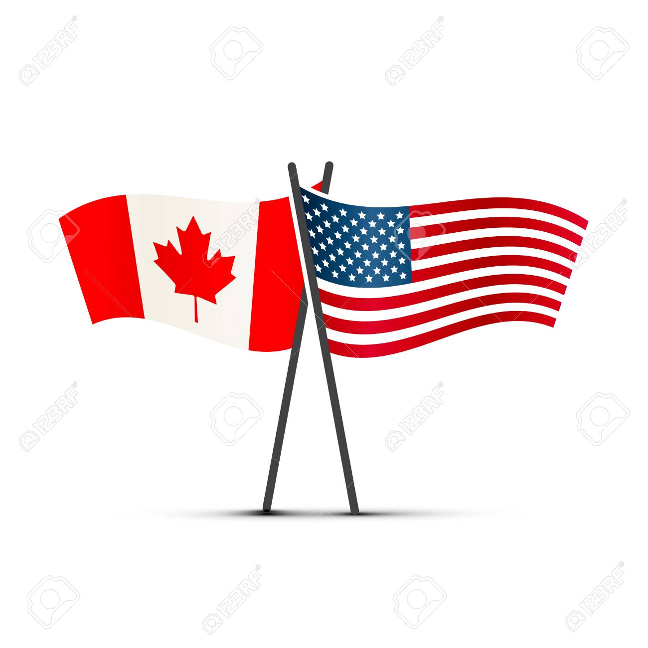 USA and Canada flags on poles isolated on white.
