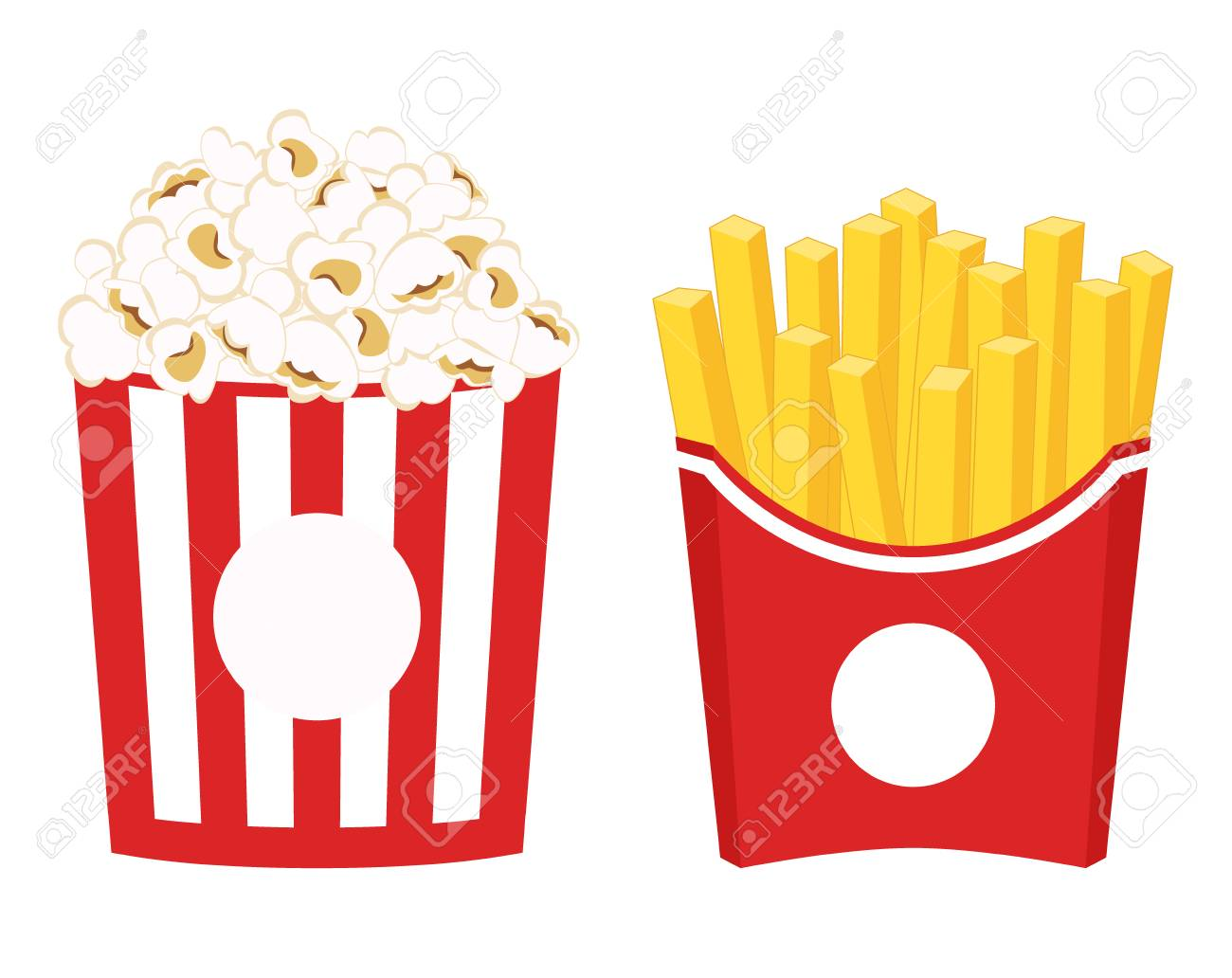 French fries and popcorn clipart. French fries and pop corn in...