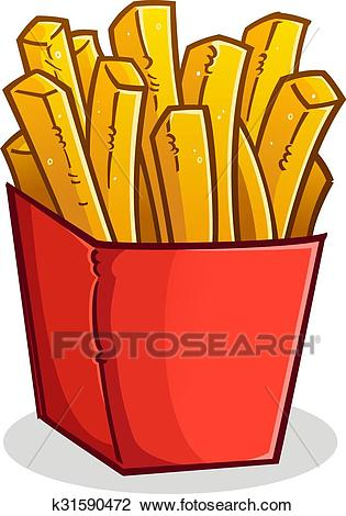 French Fries in a Box Cartoon Clipart.