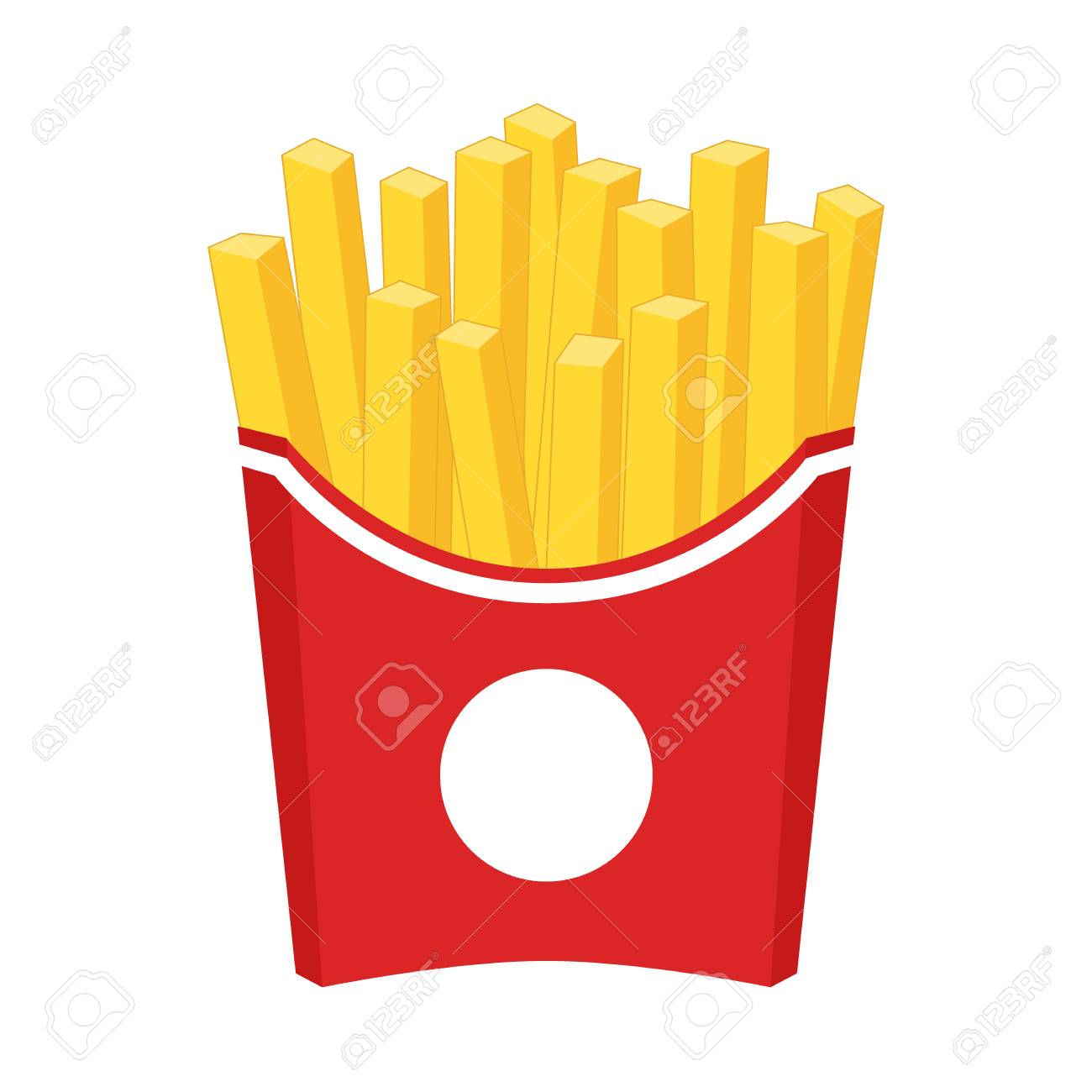 French fries cartoon clipart. French fries in a red carton paper...