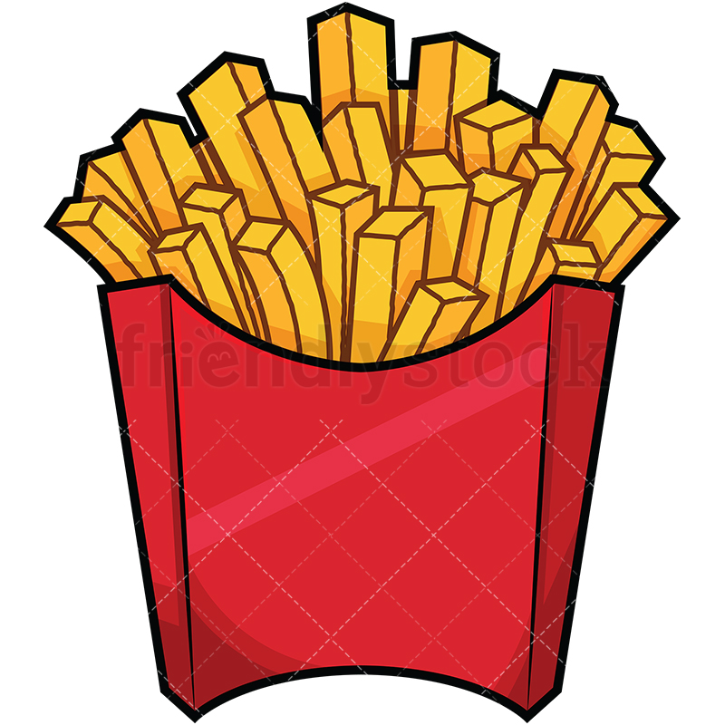 Serving Of French Fries In Red Box.
