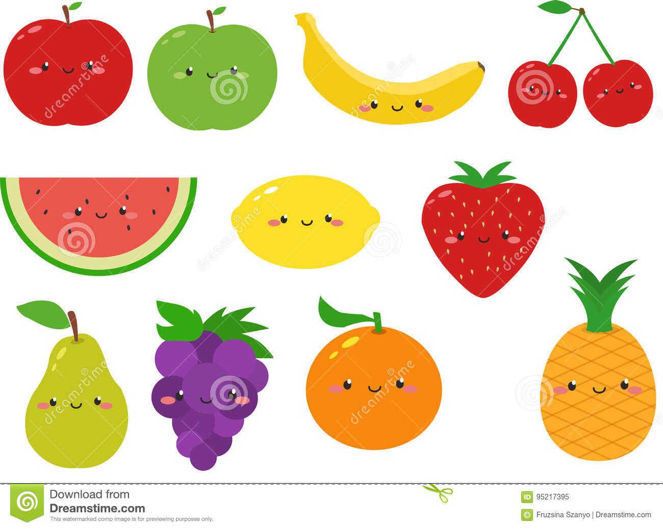 Frutas lindas Clipart stock de ilustración. Ilustración de frutas.