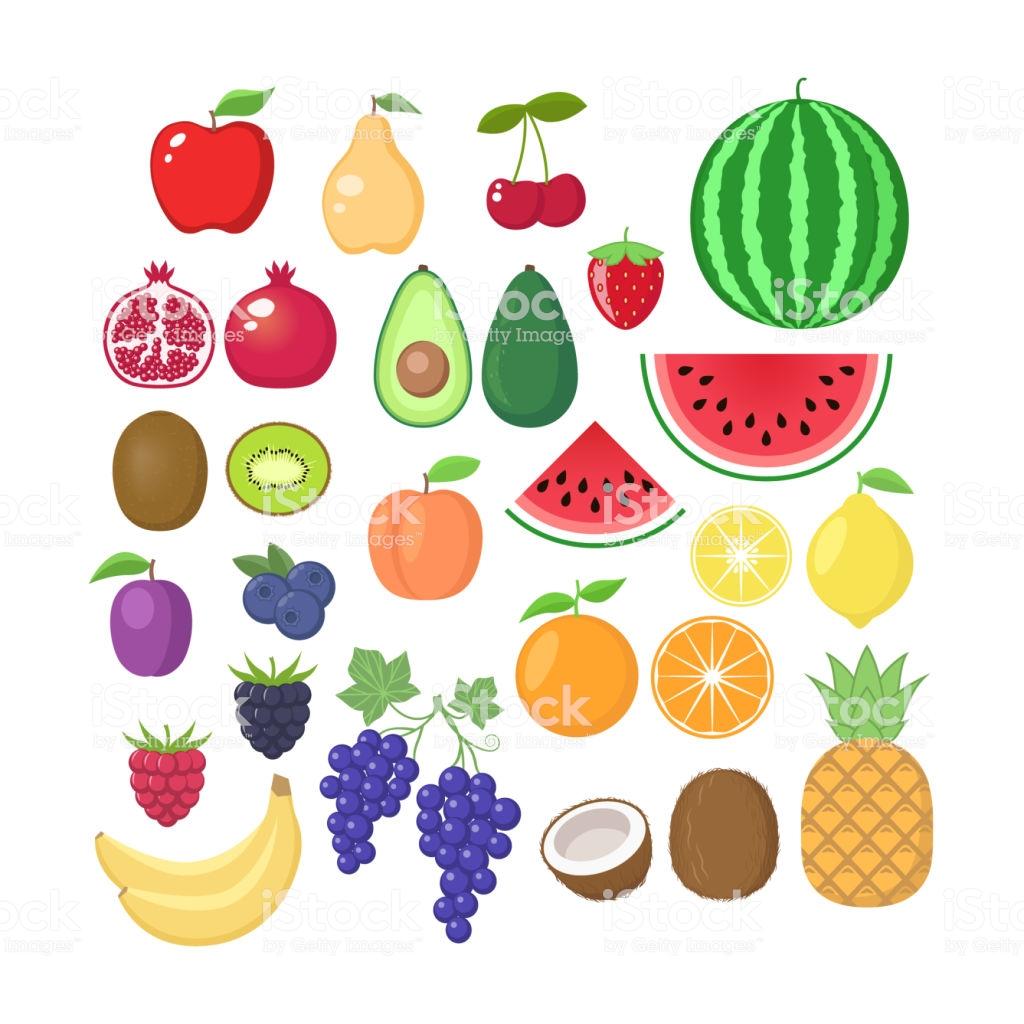 Various Fruit Collection Vector Fruits Cartoons Set Fruit Clipart.
