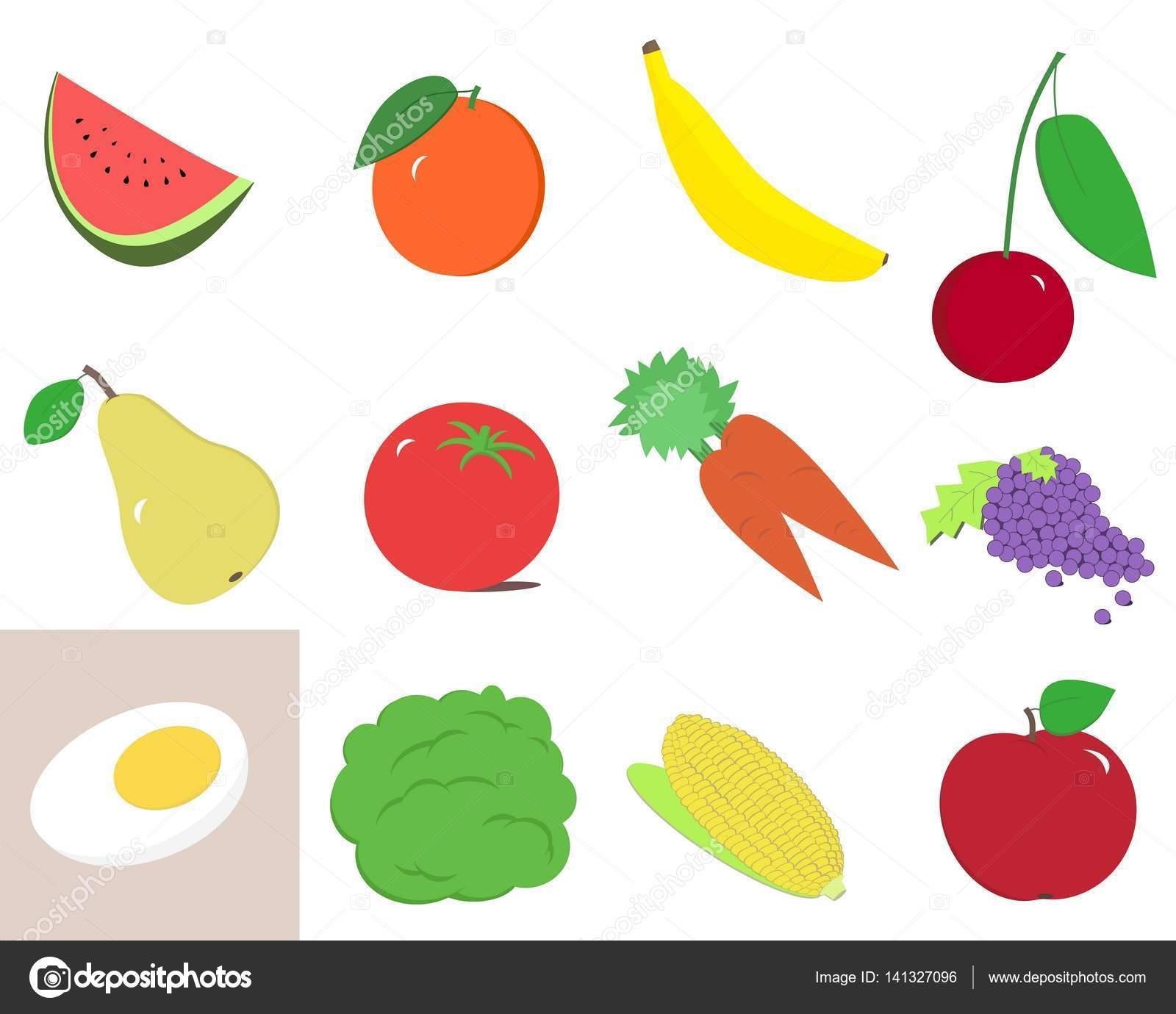 Clipart de frutas y verduras — Fotos de Stock © Grafff #141327096.