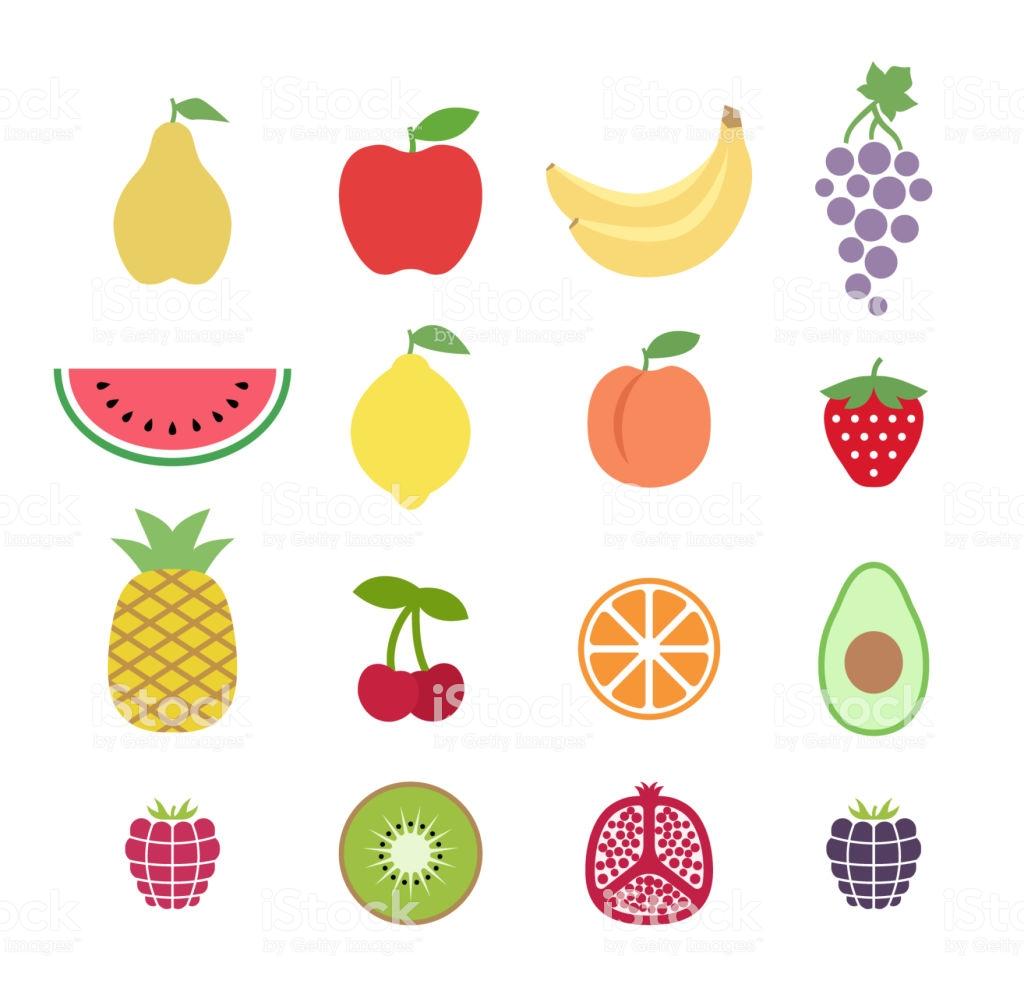 Vetores de Conjunto De Frutas Clipart Colorido Conjunto De Ícones De.