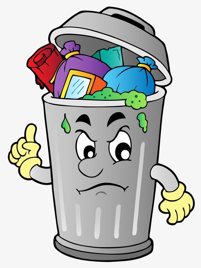 The Rubbish In The Garbage Can, Can Clipart, Cartoon, Garbage PNG.