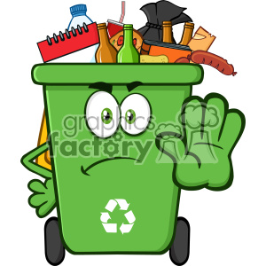Angry Green Recycle Bin Cartoon Mascot Character Full With Garbage  Gesturing Stop Vector clipart. Royalty.