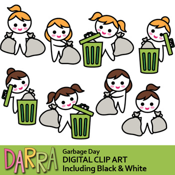 Garbage day clip art (garbage bag, trash bin clipart).