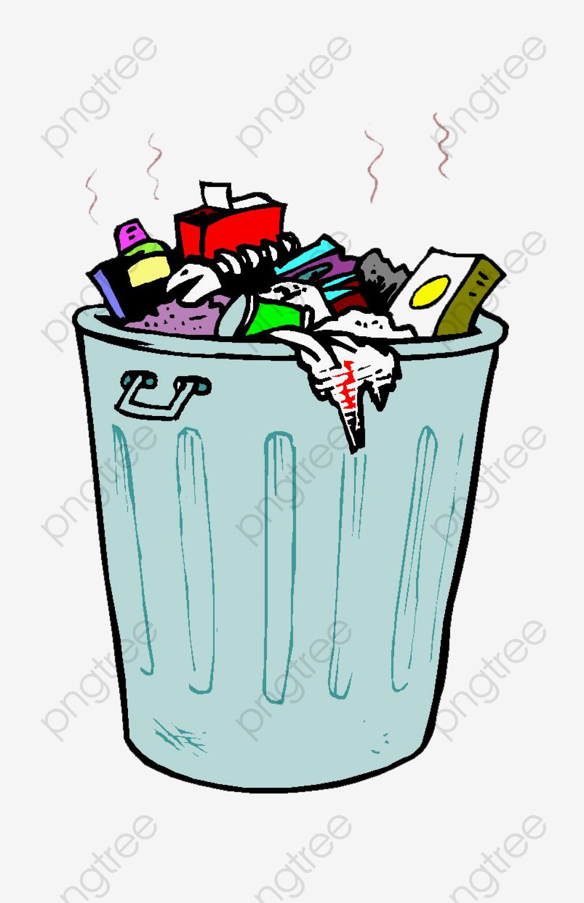 Cartoon Stinking Garbage, Cartoon Clipart, Garbage Heap, Trash Can.