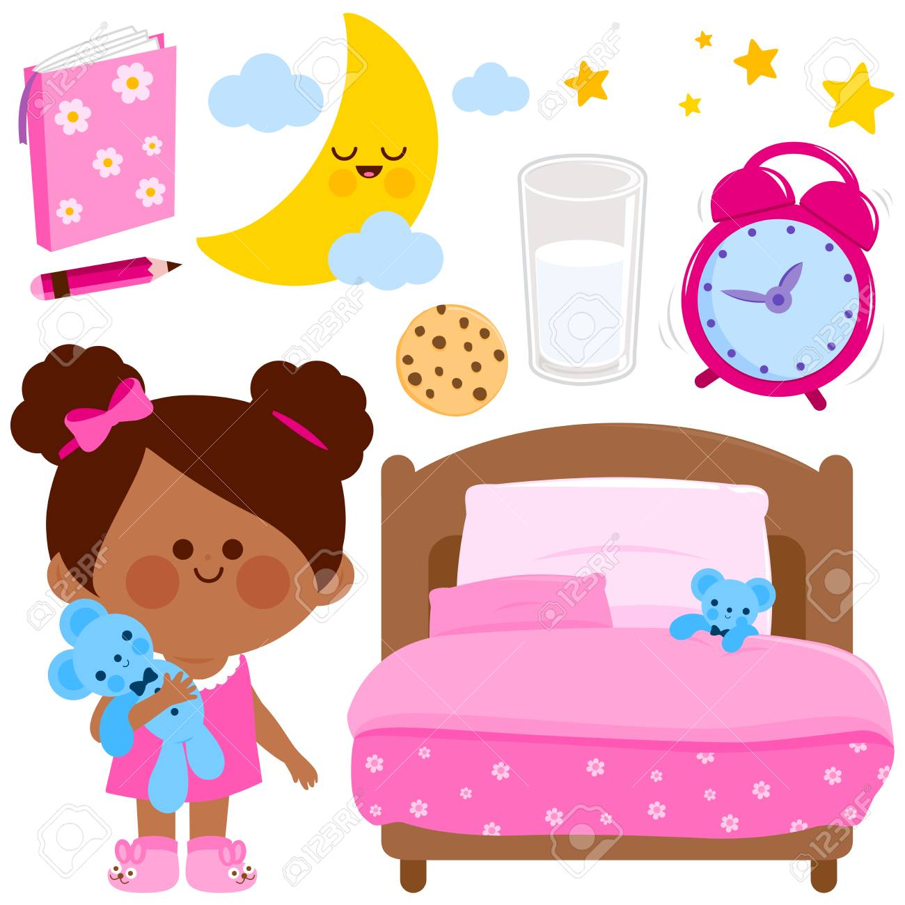Cute girl getting ready for bed at night. Vector illustration...